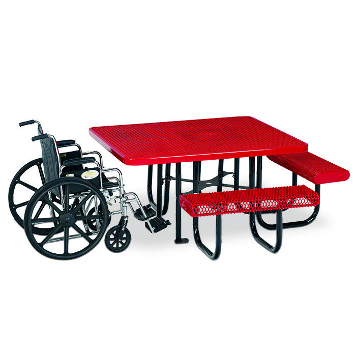 Square expanded steel 3 seat ada table surface mount picnic ada picnic tables with the fusion advantage are a great value for years of like new performance select picnic tables with this superior all weather watchthetrailerfo