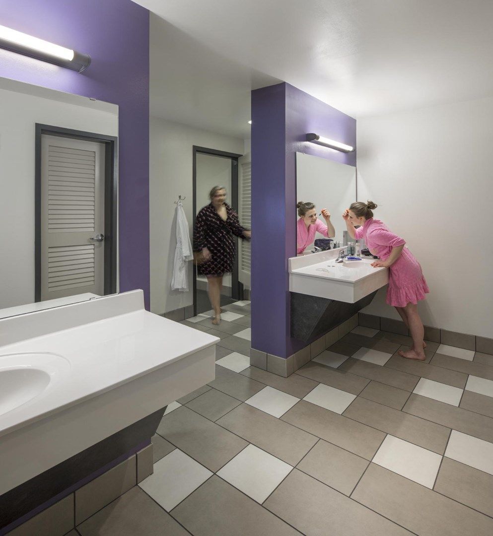 each pod in the towers has two community bathrooms that feature