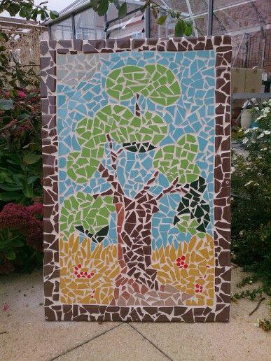 Outdoor summer mosaic tree. Ceramic tiles on cement backer board ...