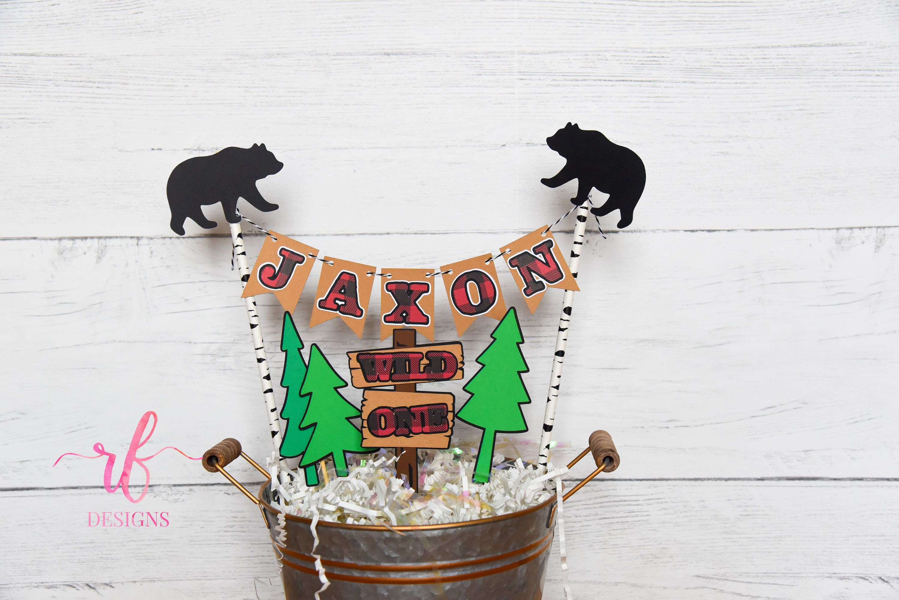 Lumberjack cake topper bunting with 3pc wild one topper
