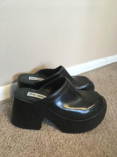 Vintage Steve Madden 90s Black Leather Mule Clog Platform Shoes 7 Wood Heel Platform Shoes Shoes Black Leather Mules
