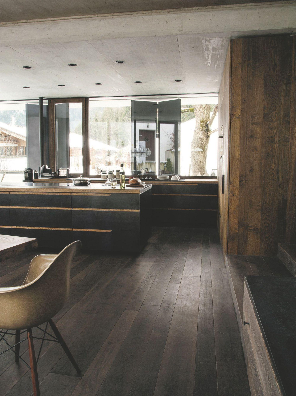 Obsession une cuisine am nag e bois et noir cuisine for Cuisine amenagee bois
