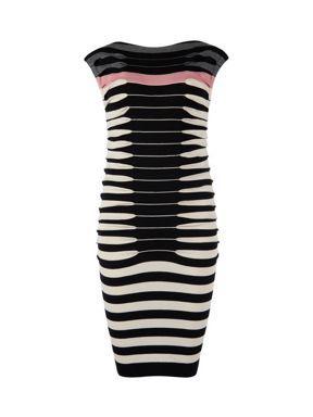 ae681cf78330e7 Ted Baker Kitey striped knitted dress Black - House of Fraser ...