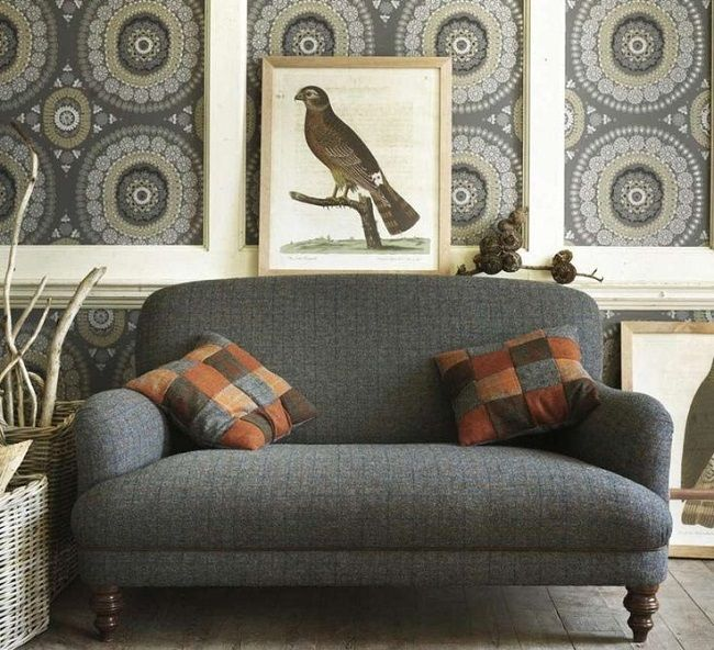 Traditional Living Rooms Furniture Fabric: Traditional Living Rooms Two Seater Harris Tweed Sofa