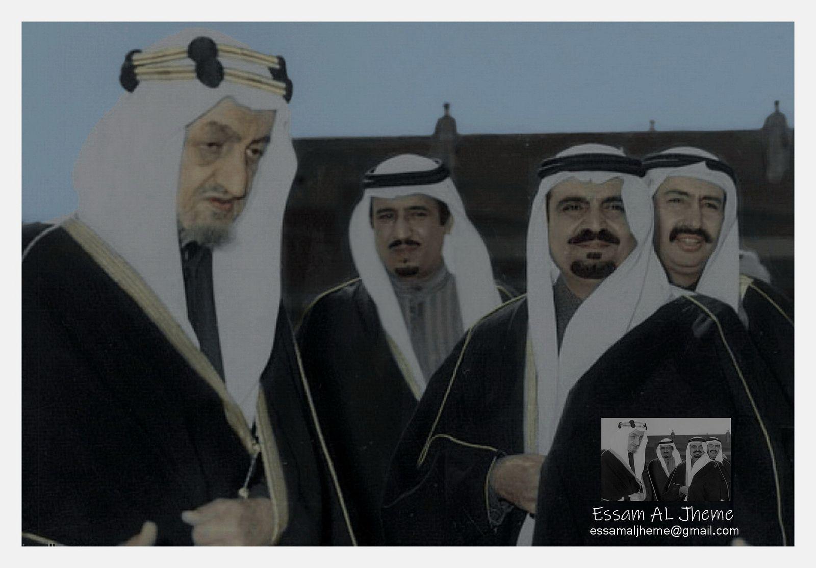 الملك فصيل بن عبدالعزيز والملك سلمان بن عبدالعزيز والامير مشعل بن عبدالعزيز والامير نواف بن عبدالعزيز King Faisal Rare Pictures My Images