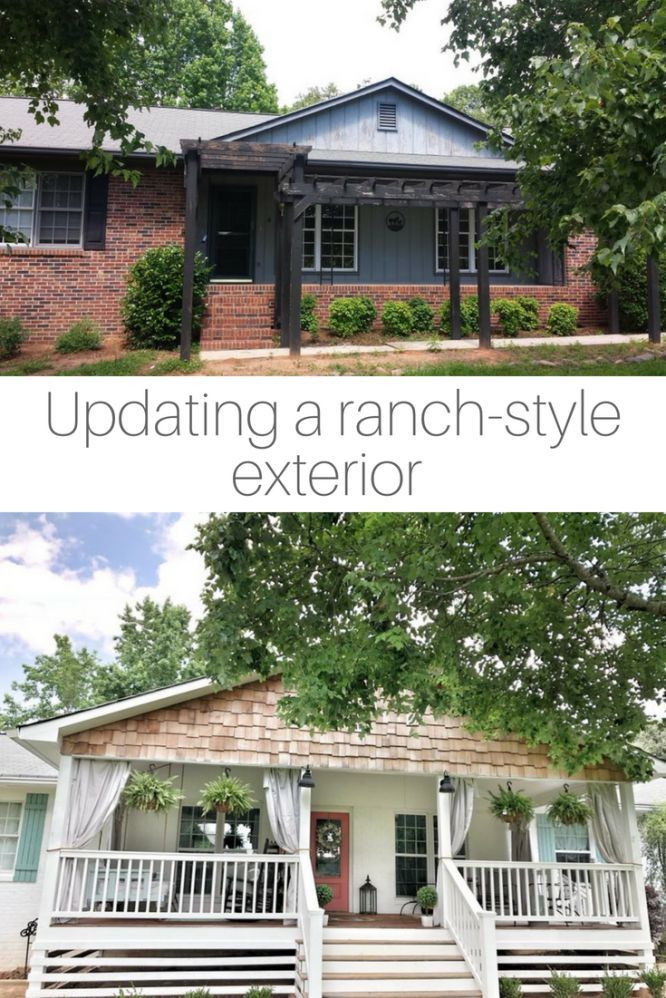 The After Reveal The Porch Updating A 1970s Ranch Style Home Ranch House Remodel Ranch House Exterior Ranch Style Homes
