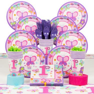 Birthdays · Sweet 1st Birthday Girl Deluxe Tableware ...  sc 1 st  Pinterest & Sweet 1st Birthday Girl Deluxe Tableware Kit Serves 36 | bday ...
