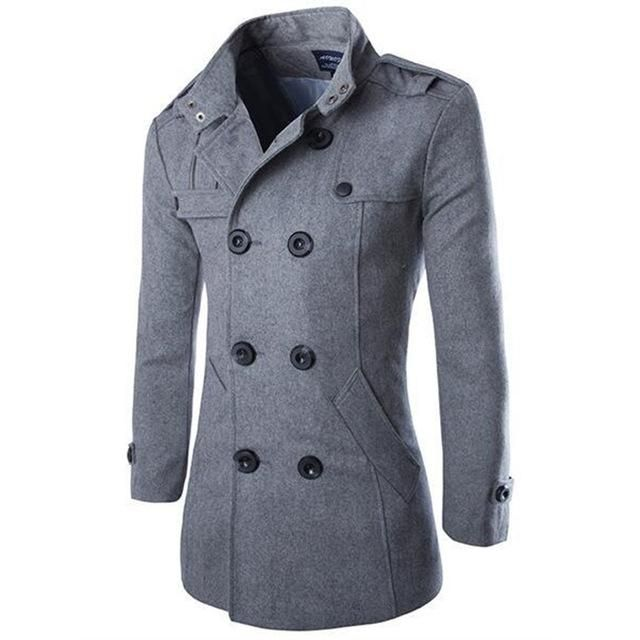 Coat Trench Jacket Winter Casual Warm Classic Mens Mix BOLF 4D4 Stand Up Collar