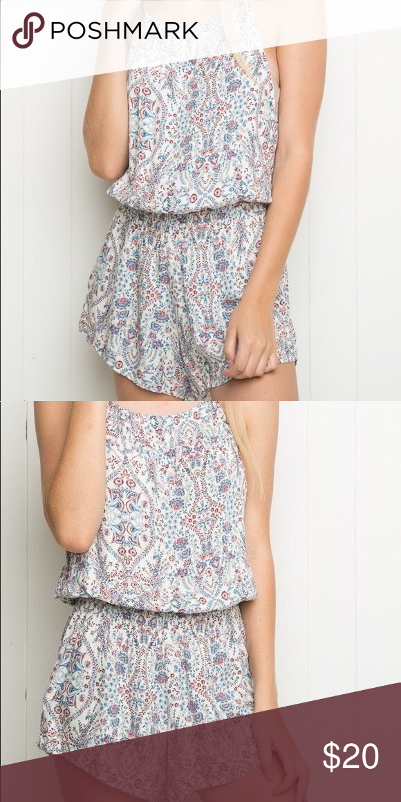 e73def6936fe Brandy Melville Paisley Romper Red and blue paisley print high neck romper  with fitted waist from Brandy Melville - perfect condition