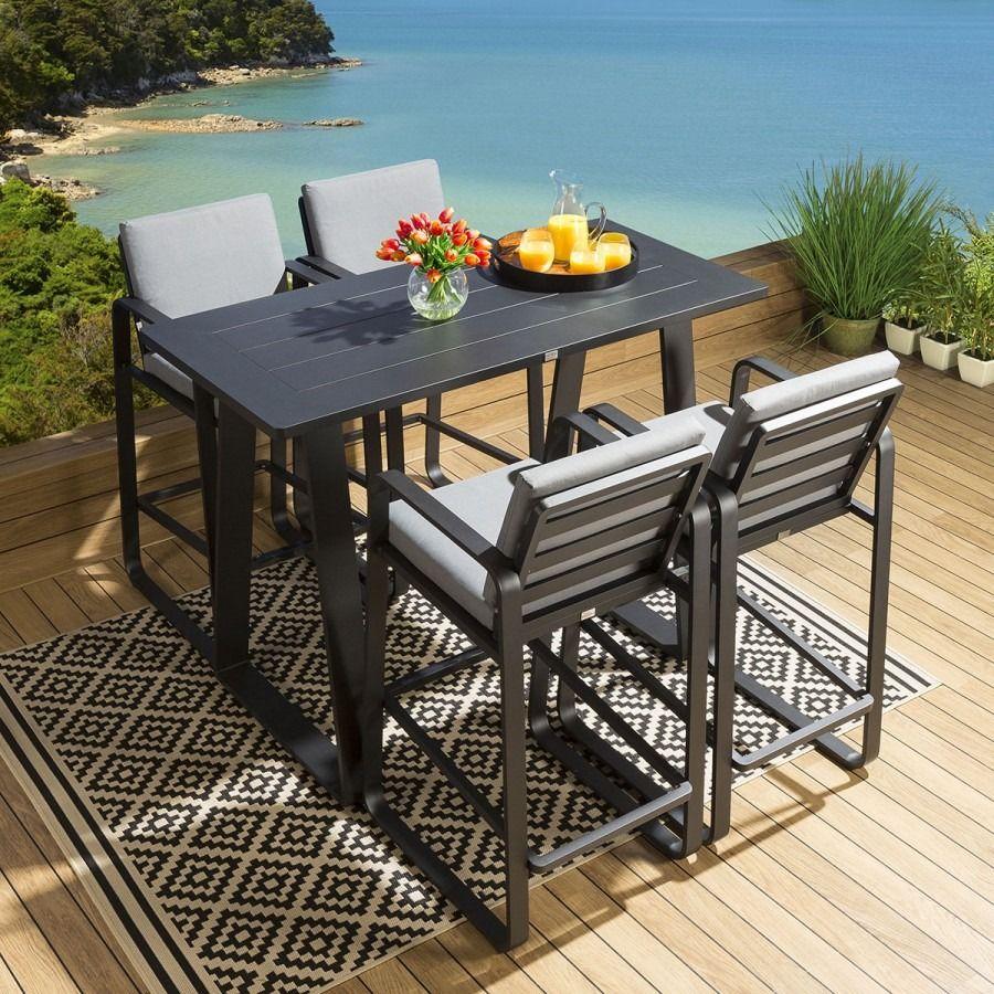 Garden Bar Set Large Table 4 Stools Black Aluminium Grey Cushions