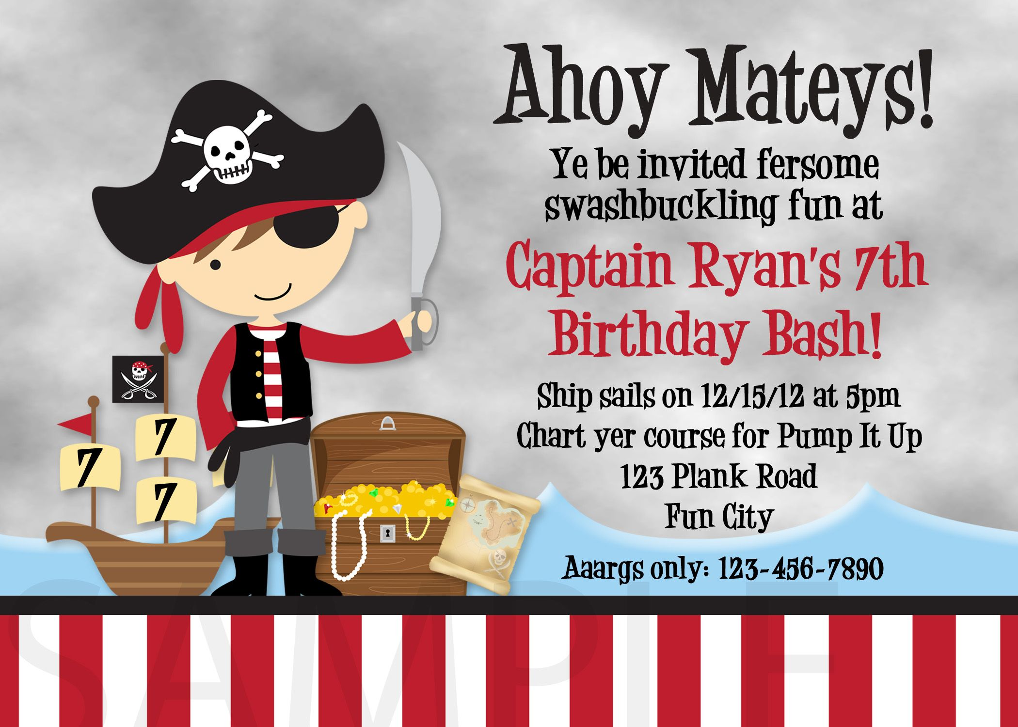 Cool FREE Template Pirate Birthday Party Invitation Wording | Baby ...