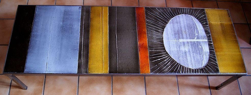 Exceptionnelle Table Basse Ceramique Soleil Roger Capron Vallauris Circa 1960 Table Basse Ceramique Table Basse Ceramique