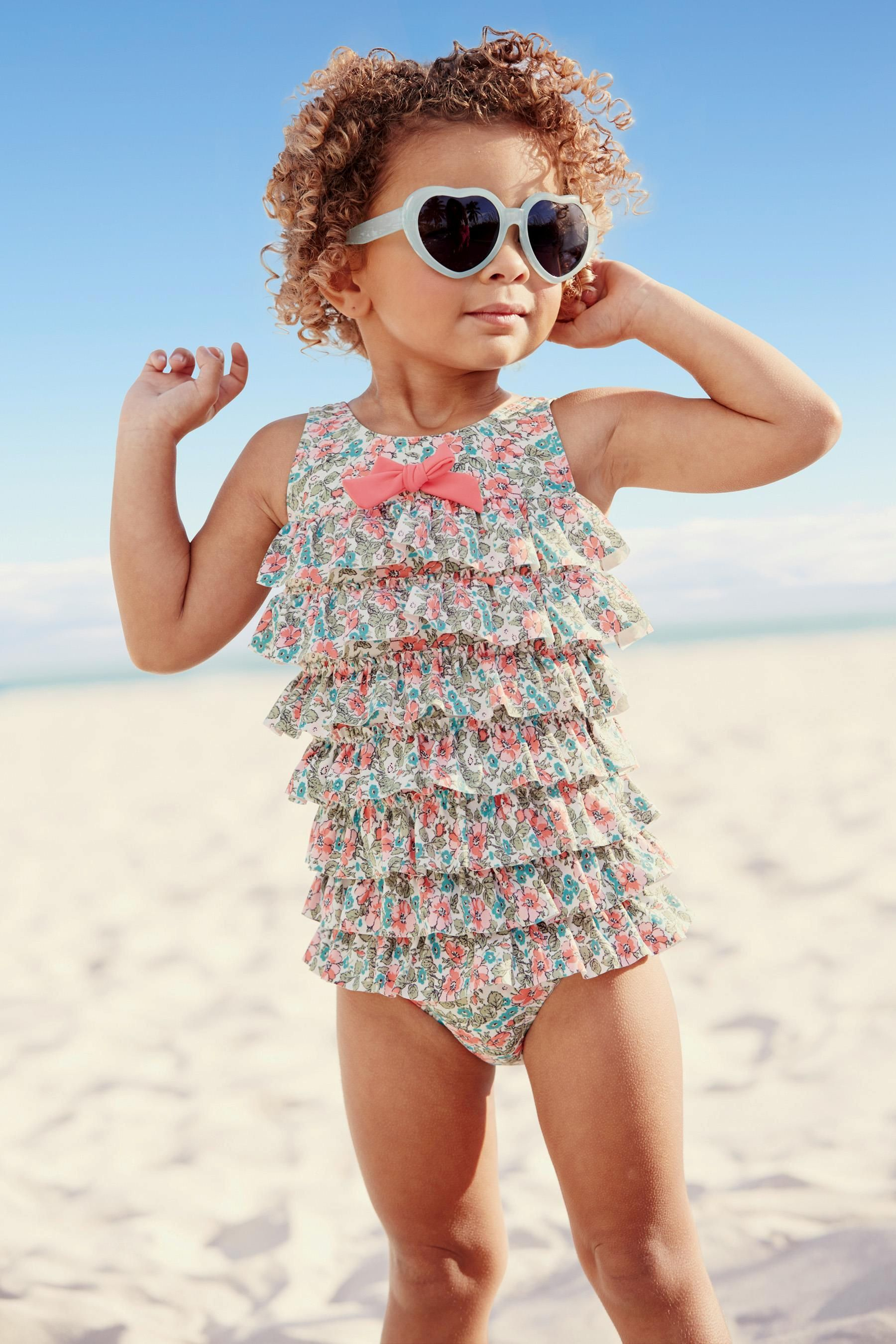 Buy Khaki Floral Ruffle Swimsuit 3mths 6yrs From The Next Uk