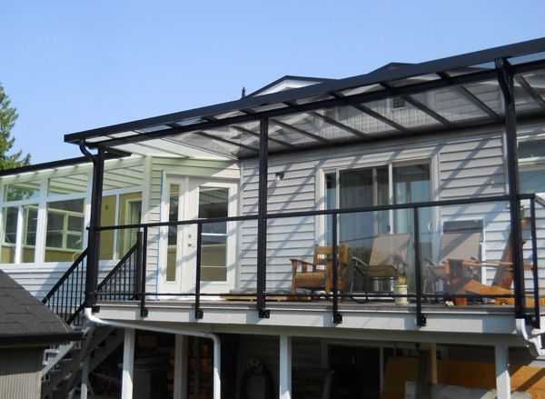 sundeck with patio cover and glass railings (With images ...