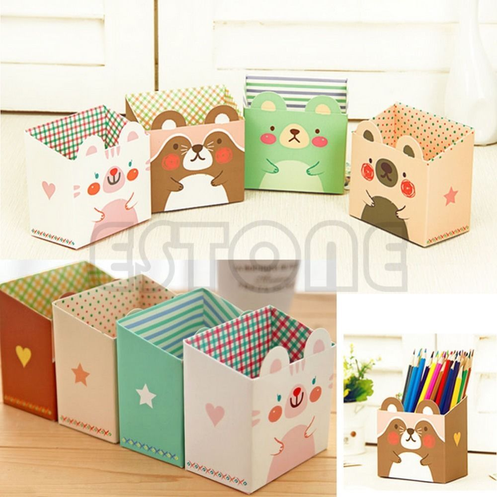 Desk Organizer 8 Pieces Cartoon Character Pen Box
