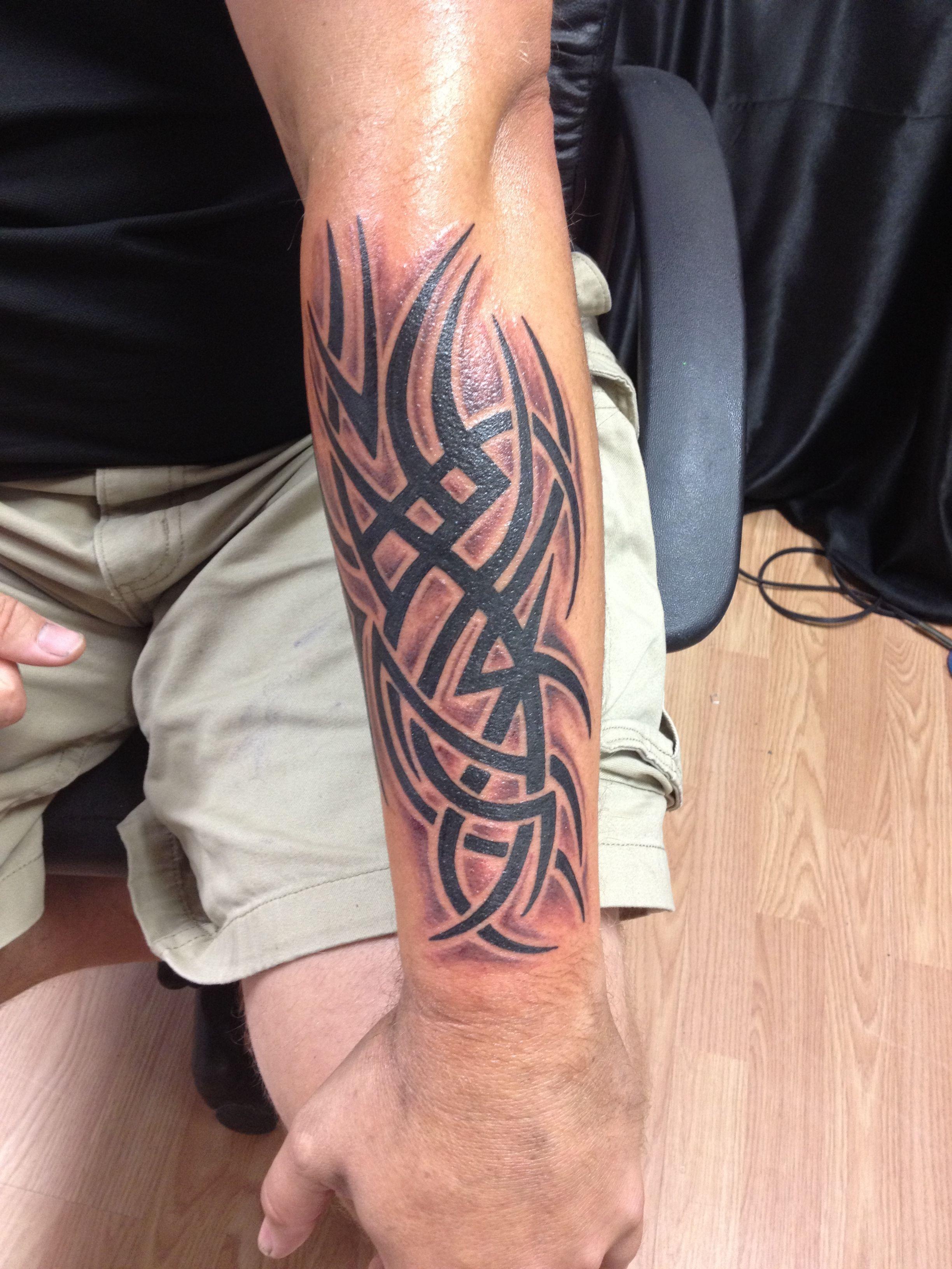 75 Tribal Arm Tattoos For Men - Interwoven Line Design Ideas