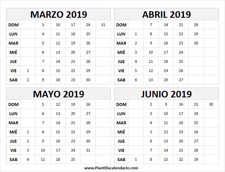 Calendario Marzo 2020 Chile.Calendario De Marzo A Junio 2019 En Chile March 2019