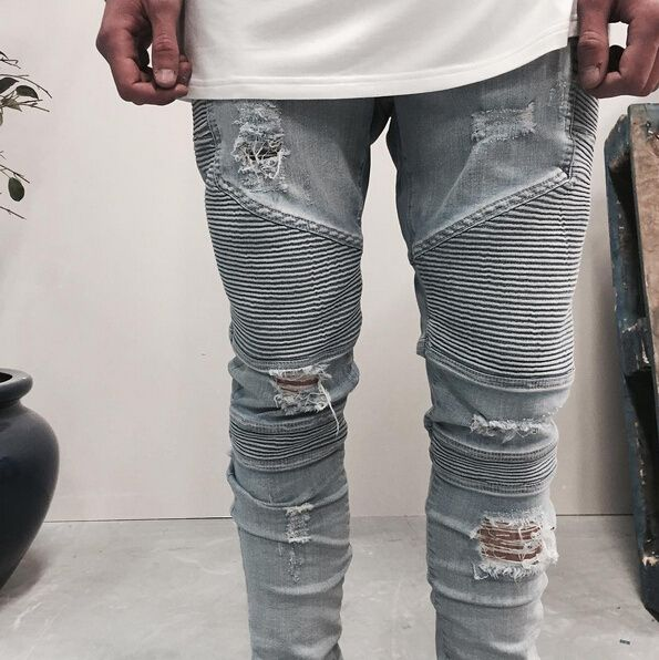 3503b89085 Cheap Representar de ropa de diseño pantalones slp azul   negro destruido  para hombre delgado denim biker skinny jeans hombres ripped jeans 28 38