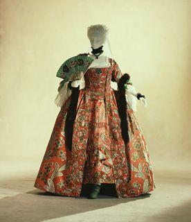 """Dress (""""robe à la française"""") c. 1760  (fabric: c. 1750)- France"""