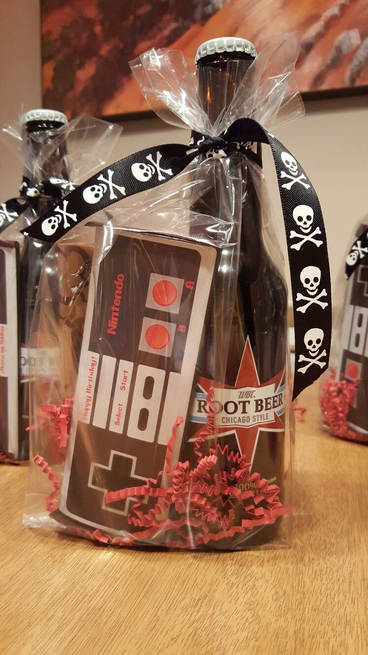Tween Boy Party Favors Root Beer Costco Nintendo Candy Bar Digital Download From Etsy And A Bag Of Microwave Popcorn