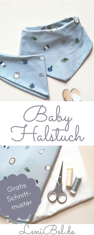 Dreieckstuch / Halstuch für Baby und Kleinkind ganz einfach nähen. Gratis Schnittmuster in 2 Größen zum download auf LeniBel.de. Sehr gut für Näh-Anfänger geeignet.