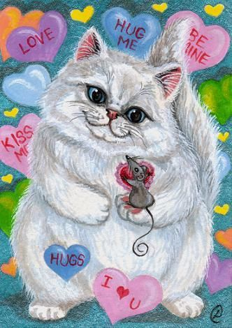 Valentine Persian Cat & Mouse, Lynne Oliver