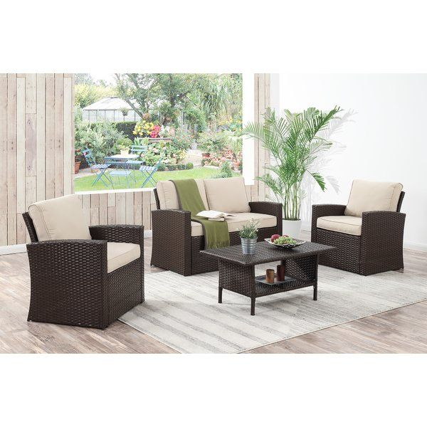 Kingsbury 4 Piece Rattan Sofa Seating Group With Cushions Outdoor Sofa Sets Outdoor Furniture Sale Sofa Set