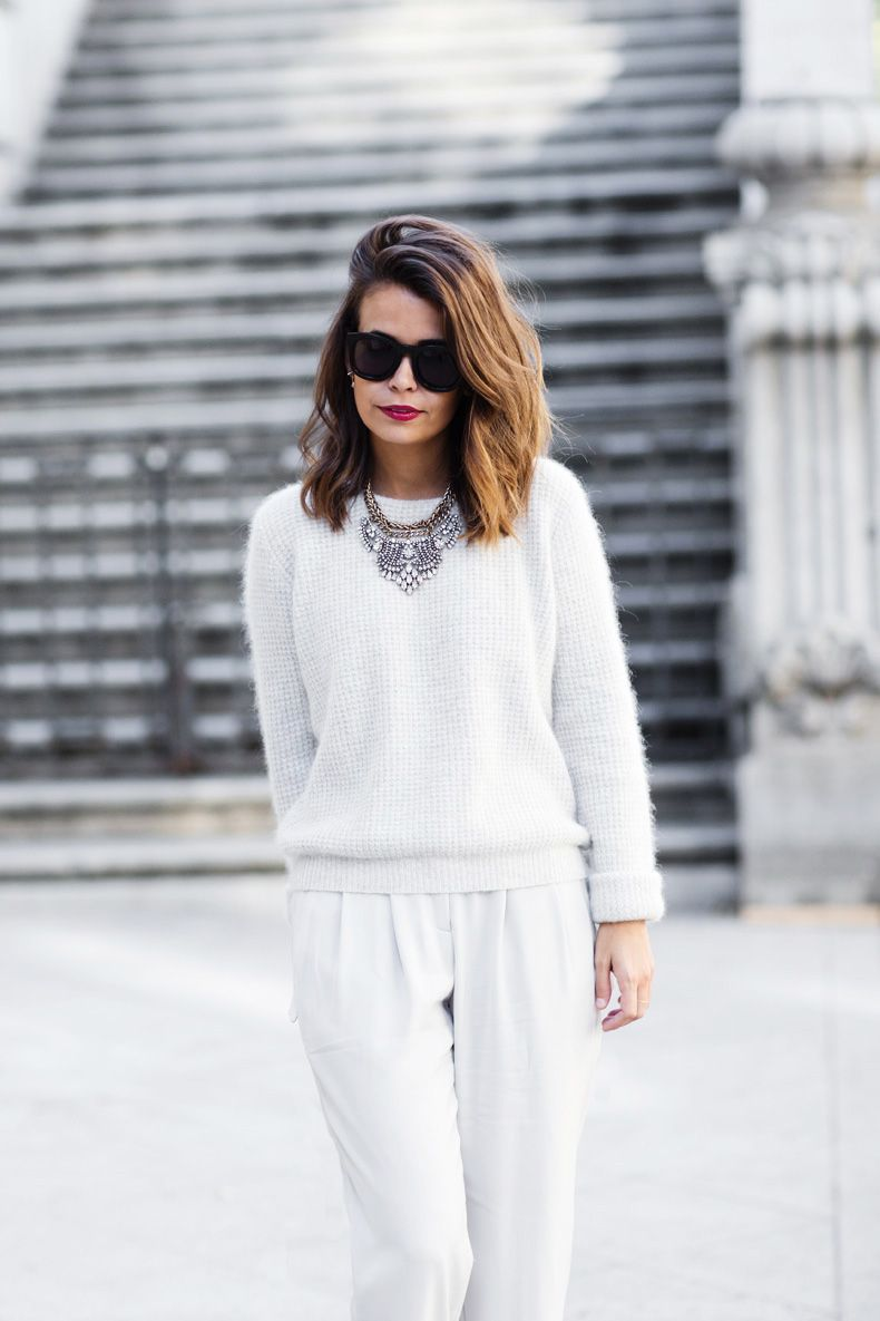 Grey Mix (Collage Vintage) | Pleated pants, White sweaters and ...
