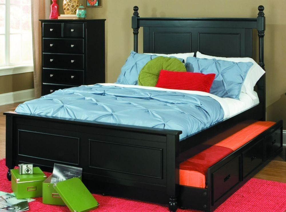 1356FPRBK 1R Morelle Cottage Kids Black Wood Full Captain Bed Trundle
