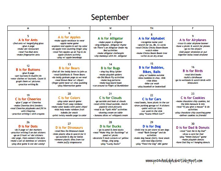 Lesson Plans Preschool Septemberpdf Teacher Organization
