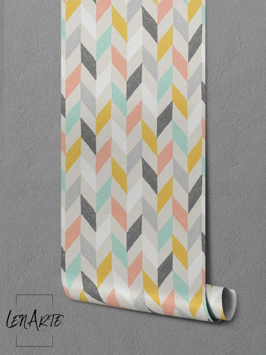 Colorful Herringbone Pattern On Peel Stick Wallpaper Wallmural Perfect For Kids Room Decor Or For A Cheerful Chevron Wallpaper Herringbone Wall Wall Patterns