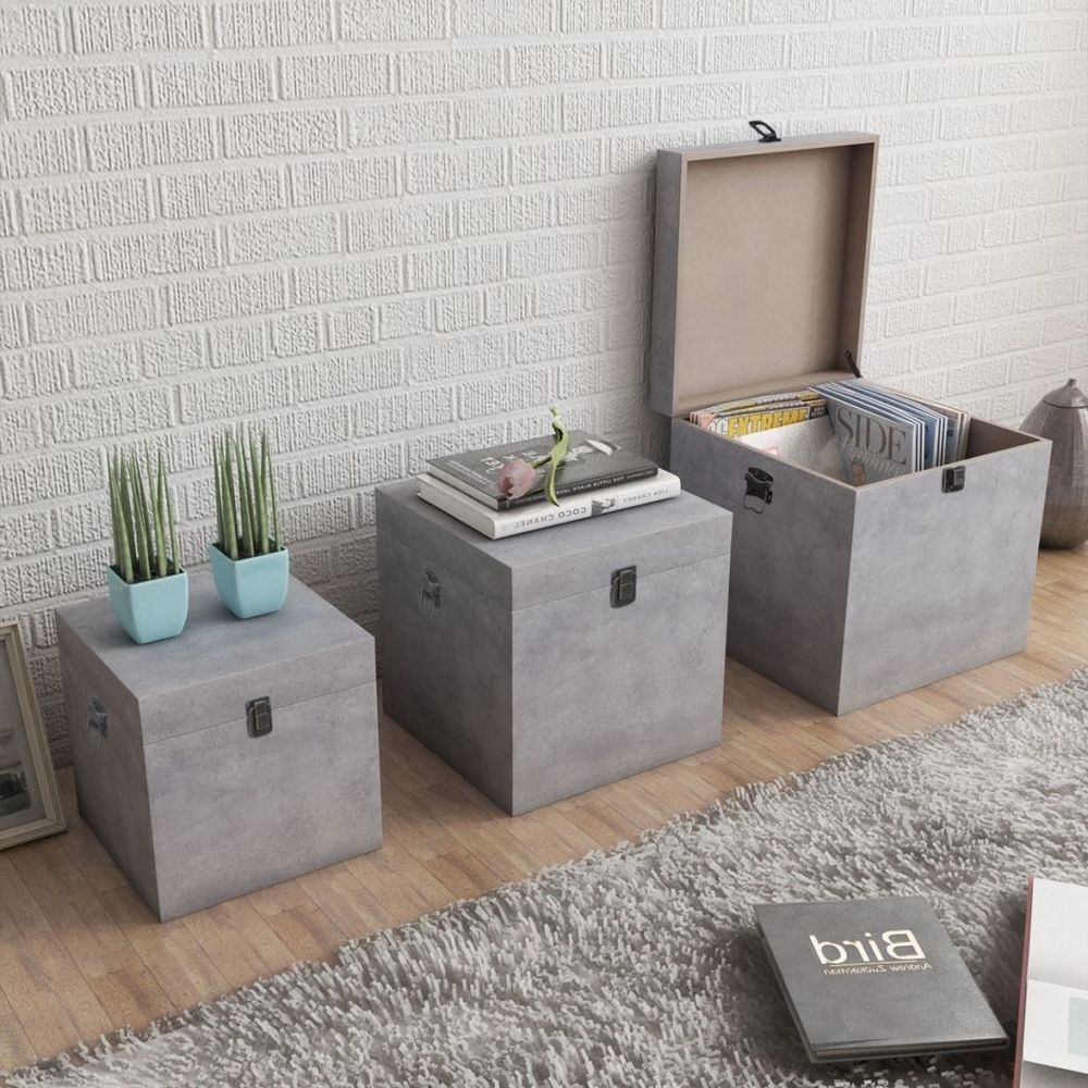 Wooden Cabinets Storage Box 3 Pc Living Room Organizer Unit Modern Side Tables