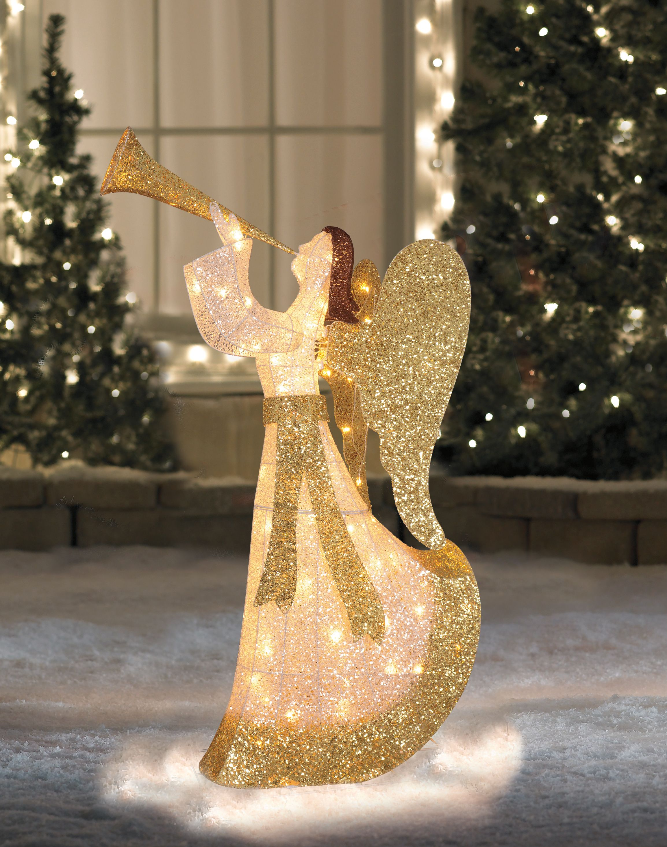 44 Cotton Thread Led Lighted Gold And Silver Glitter Angel Outdoor Christmas Decoration Outdoor Christmas Decorations Outdoor Christmas Outdoor Holiday Decor Outdoor lighted angel christmas decorations