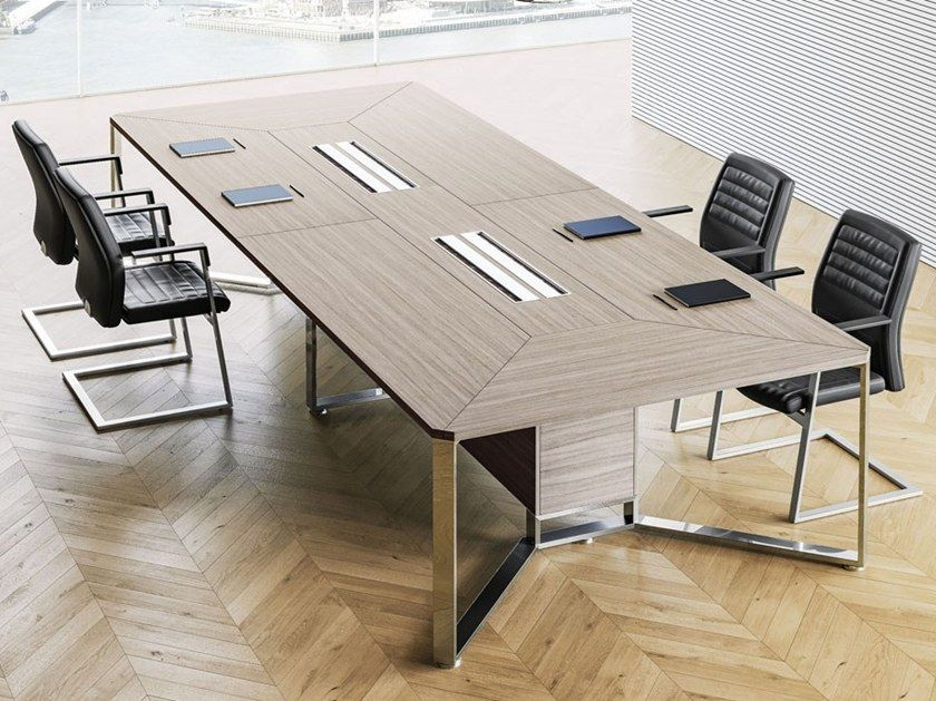 Modular Rectangular Meeting Table With Cable Management I Meet Contemporary Style Meeting Table By L Meeting Table Modern Kitchen Design Kitchen Design Small