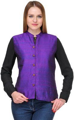 97b60a1a52b406 Fuchsia Designs Sleeveless Solid Women s Nehru Jacket - Buy Purple Fuchsia  Designs Sleeveless Solid Women s Nehru