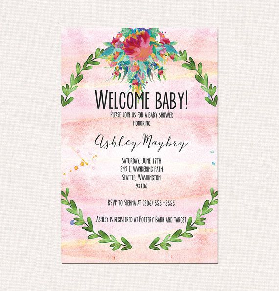 Watercolor Pink and Floral Baby Shower by SpindleHausDesigns