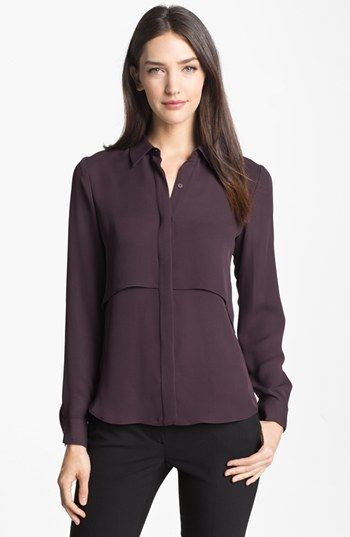 eb09a60f262 Color is beautiful on this one. Theory 'Rosita' Silk Shirt available at  #Nordstrom #nsale