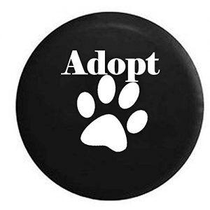 Adopt Dog Lover Paw Print Rescue Spare Tire Cover Black Tire