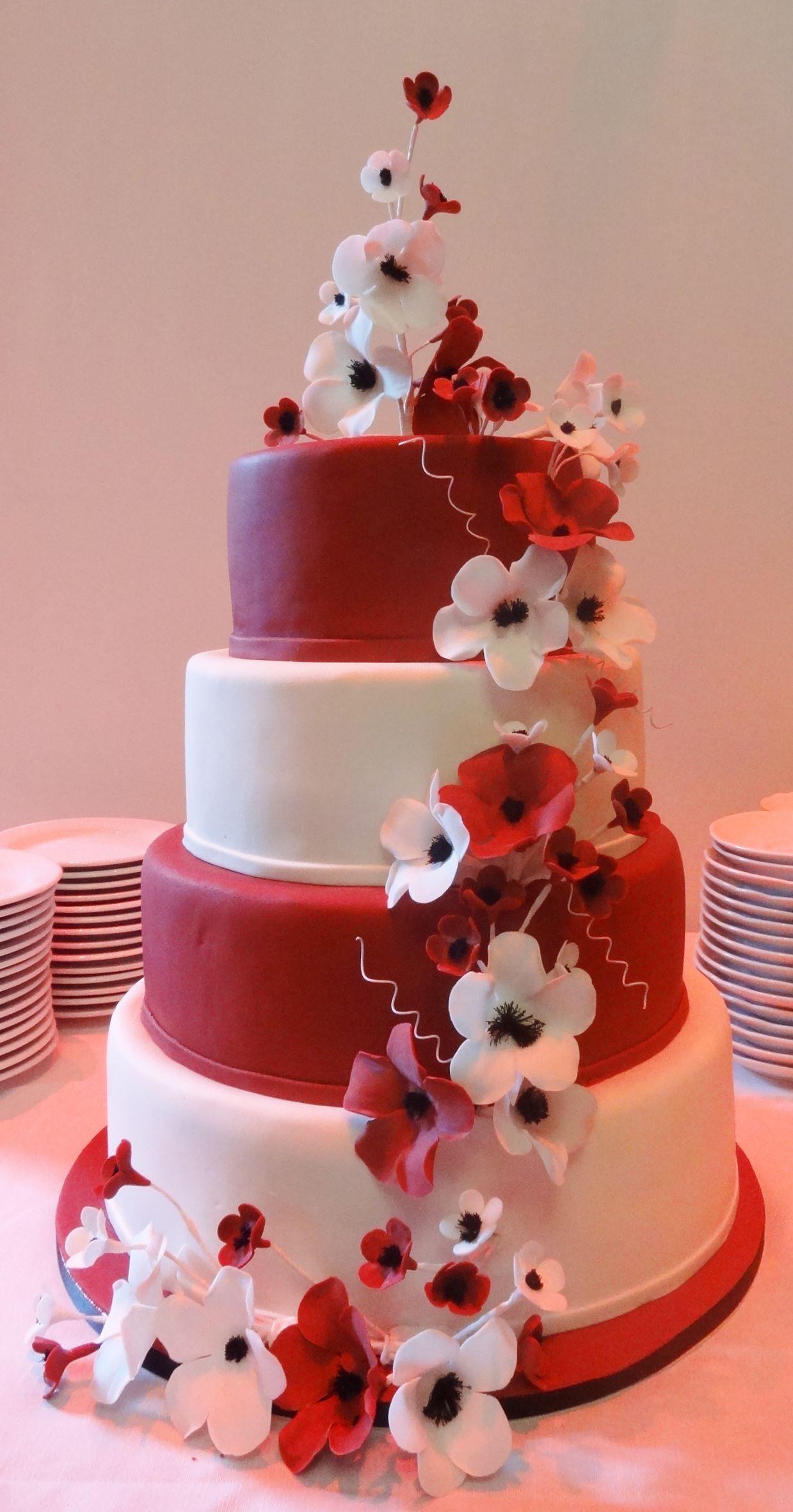 Weddingcake red-white   Happy birthday   Pinterest