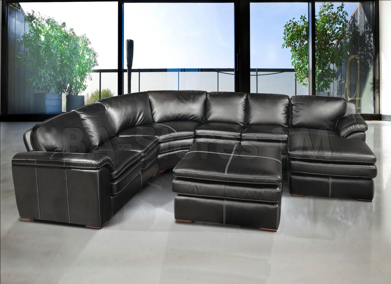 Dark Grey Leather Sectional Living Room