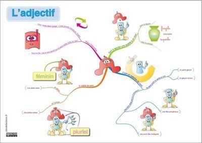 Carte Mentale Accord Adjectif De Couleur.Carte Mentale Mindmap De L Adjectif Cartes Mentales