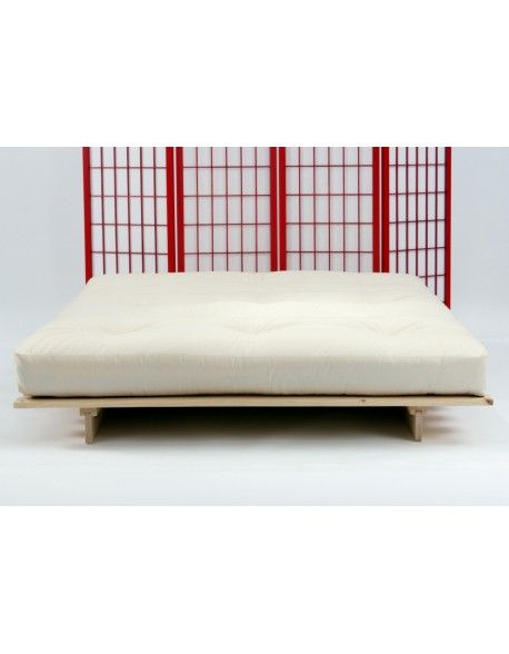 The Traditional 8 Layer Futon Mattress On Our Eco Bed In Natural Drill Fabric