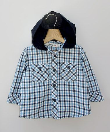 Take a look at this Blue Plaid Hooded Button-Up - Infant, Toddler & Boys by Beebay on #zulily today!