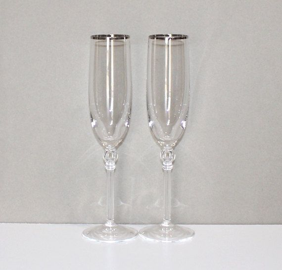 Gorgeous, Set of 2, Vintage, Lenox Innocence, Platinum Fluted Champagne Glasses, Toasting by cocoandcoffeevintage
