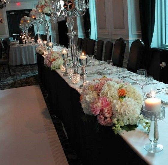 Head table set up at wedding ceremony at toronto trump hotel flowers designer shop in toronto junglespirit Images