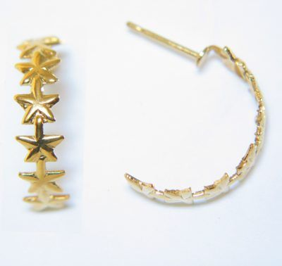 Gold Star Hoop Earrings For Sensitive Ears Of Stars And Post Made High Grade Surgical Steel With Pure 24k Electroplate