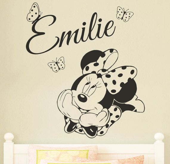 minnie mouse personalised disney wall sticker decal for kids childrens nursery bedroom wall. Black Bedroom Furniture Sets. Home Design Ideas