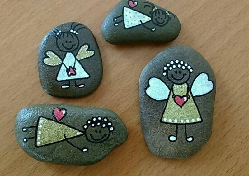 Ich verkaufe hier verschiedene von mir mit Acrylstiften bemalte und mit Firnis versiegelte Steine,...,Stein Steine bemalt Deko Glücksbringer Schutzengel in Wesel - Wesel #bemaltekieselsteine