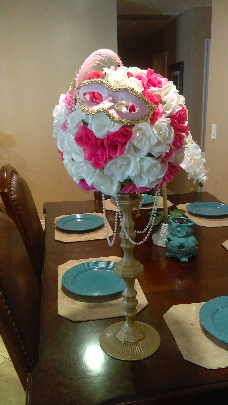 Diy Quinceañera Centerpiece Flowers And Candle Holder Are From Dollar Tree I Used Five Sticks A Salad Plate To Make The Tall Base