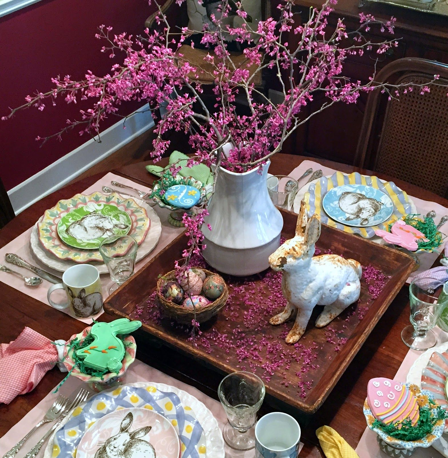 HYACINTHS FOR THE SOUL ~ Redbuds, bunnies, and painted eggs ~ It must be spring!